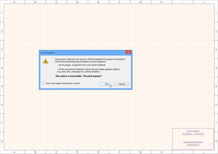 Saving a Draftsman document as a template, warning dialog explains what is about to happen