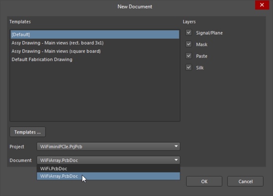 New Document dialog, selecting a PCB that contains an embedded board array
