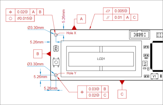 Example, combination of Datum and Feature Control Frame features