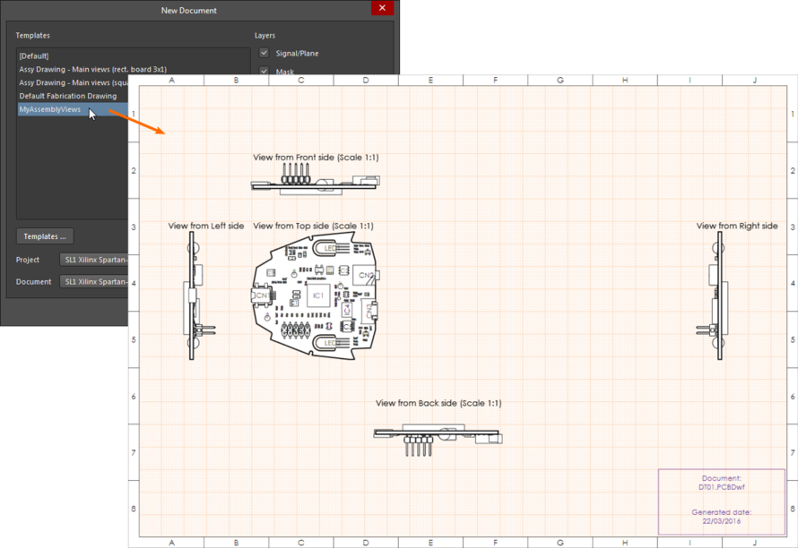 Draftsman drawing, demonstrating what has happened when a document template is applied to a different PCB project