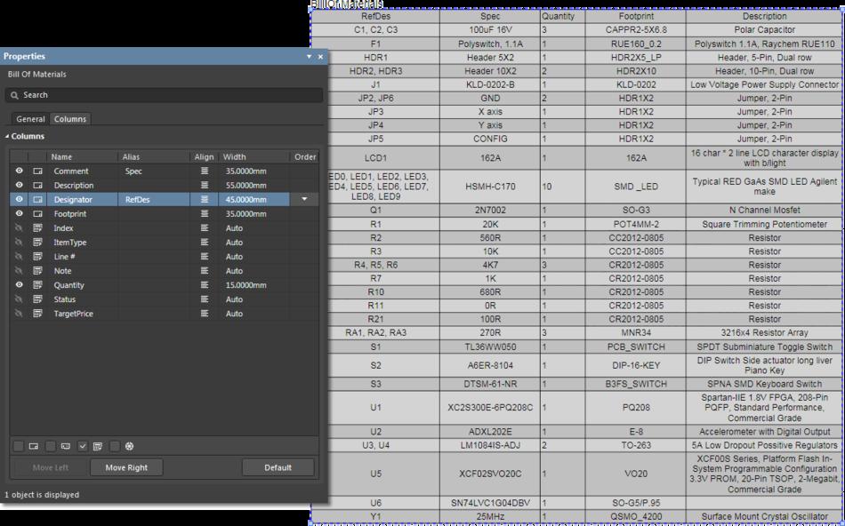 Управляйте столбцами размещенной таблицы BOM через вкладку Columns панели Properties.