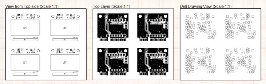 Example Draftsman document showing different views of a board array