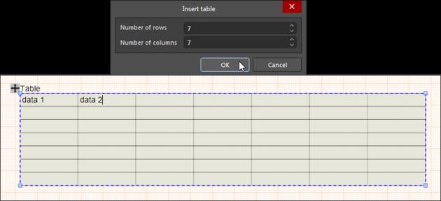 Укажите количество ячеек в строках и столбцах таблицы Table – в дальнейшем их можно изменить с помощью команды Table из контекстного меню ячейки.