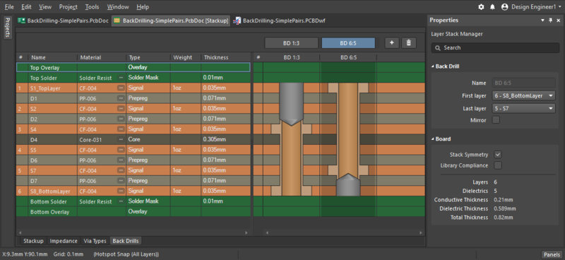 PCB editor Layer Stack Manager, showing where back drills are defined