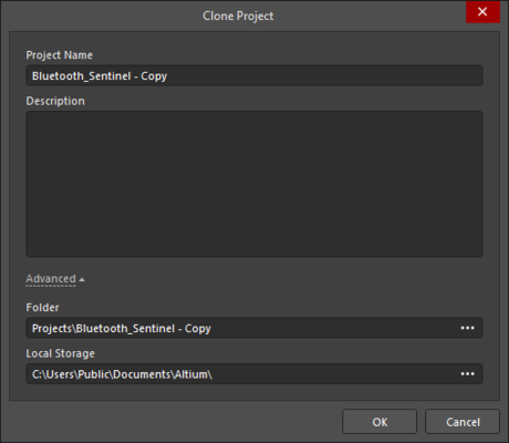 Clone Project dialog