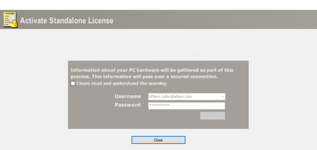 The Activate Standalone License dialog