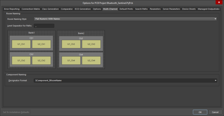 The Multi-Channel tab of the Project Options dialog