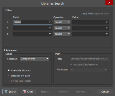 The Libraries Search dialog displayed in Simple mode (left) and Advanced mode (right).