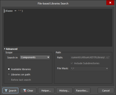File-based Libraries Search dialog displayed in Advanced Mode