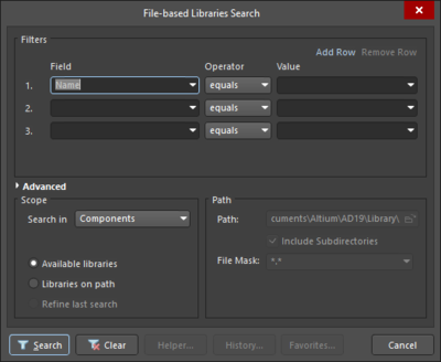 File-based Libraries Search dialog displayed in Simple Mode