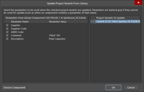 The Update Project Variants From Library dialog