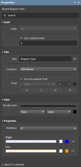 Настройки по умолчанию вида Board Region View в диалоговом окне Preferences и режим Board Region View панели Properties.