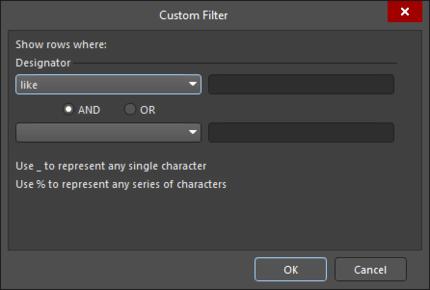 The Custom Filter dialog