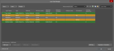 The Advanced version (first image) and Simple version (second image) of the Layer Stack Manager dialog