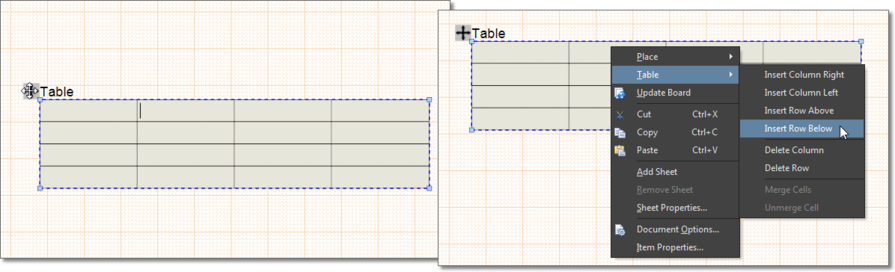 Drag a selected table's Move icon to reposition it in the workspace. Right-click in a cell to access row/column manipulation options.