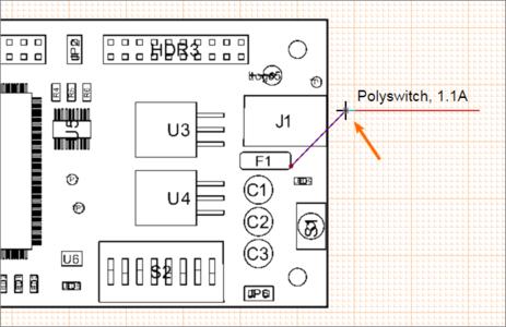 Перетащите ручку управления объекта Callout для перемещения конечной точки.