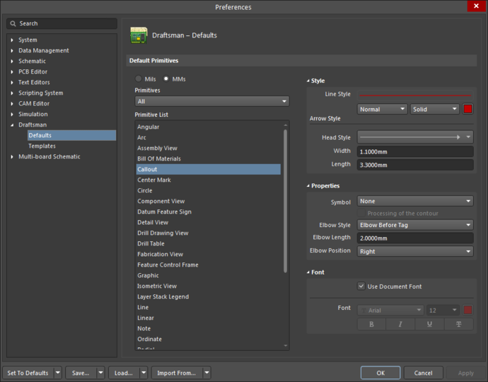 The Callout default settings in the Preferences dialogand the Callout mode of the Properties panel