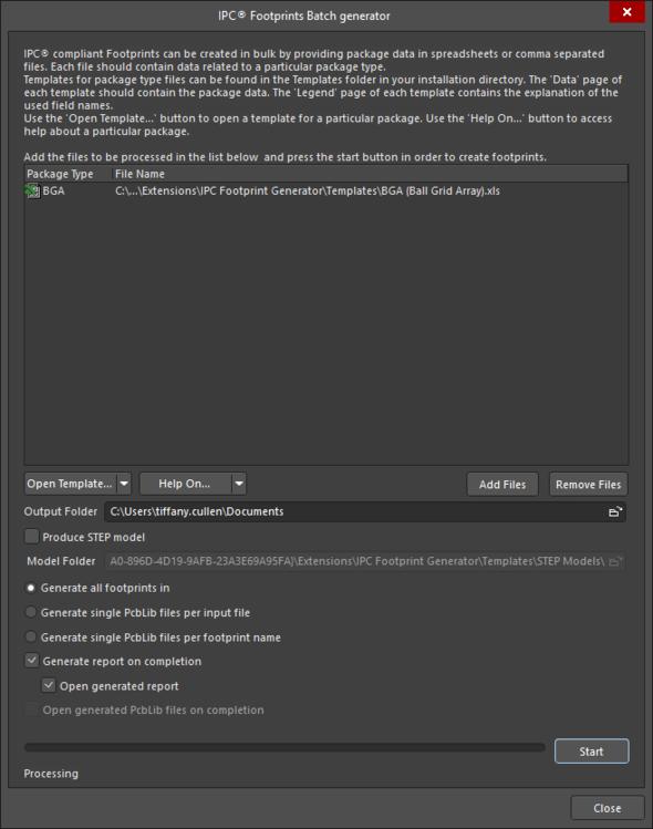The IPC®Footprints Batch generator dialog