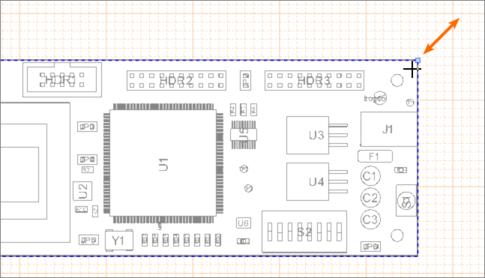 Перетащите ручку управления выделенного вида Board Assembly View для изменения его размера.