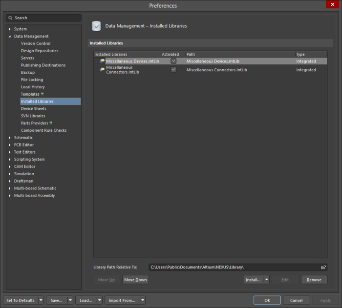 The Data Management - Installed Libraries page of the Preferences dialog