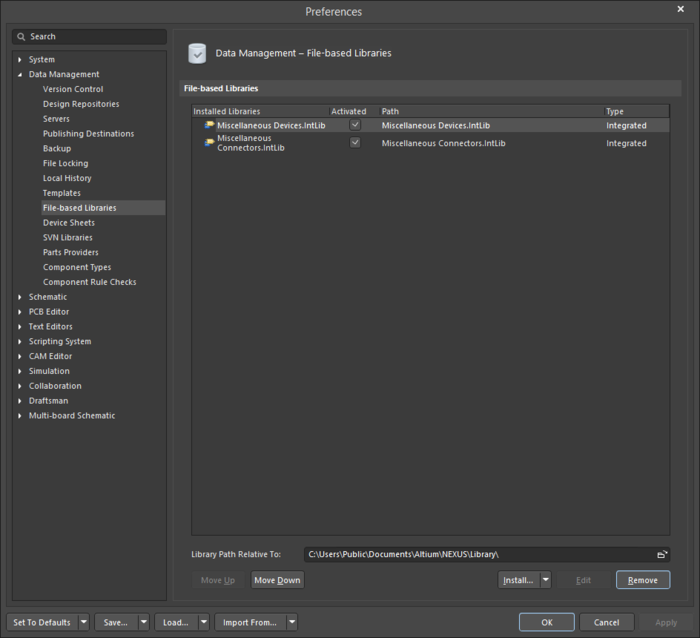 The Data Management - File-based Libraries page of the Preferences dialog