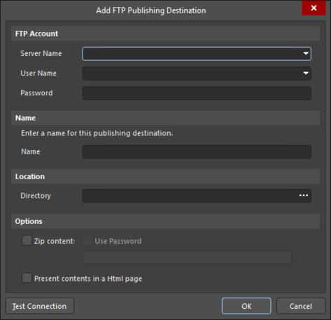 The Add FTP Publishing Destination dialog
