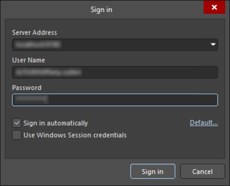 Two variations of the Sign In dialog (the first image is usedto sign into your Altium account; the second image is usedto sign into a server)