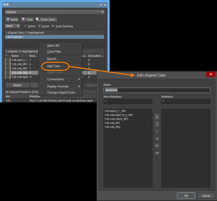 Создайте новый класс объектов xSignal или добавьте/удалите элементы существующего класса в диалоговом окне Edit xSignal Class.