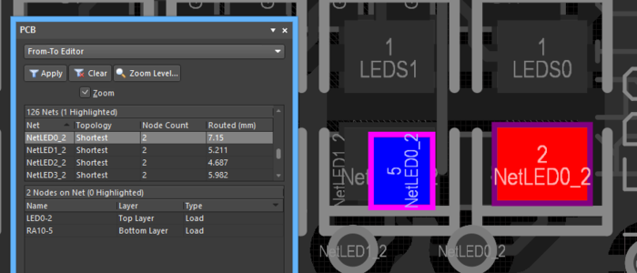 Selecting a net lists its nodes in the PCB panel and displays them (as pads) in the main editor workspace.