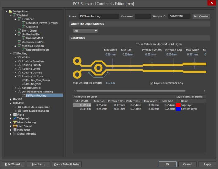 Для дифференциальной пары, настройки можно задать для всех слоев с помощью элементов управления возле изображения пары либо для каждого слоя с помощью таблицы под изображением.