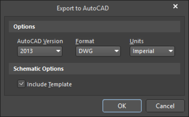 The Export to AutoCAD dialog