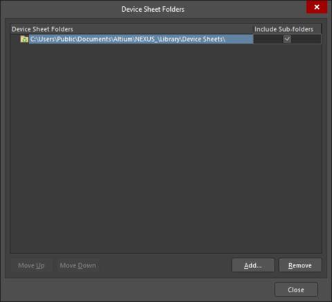 The Device Sheet Folders dialog
