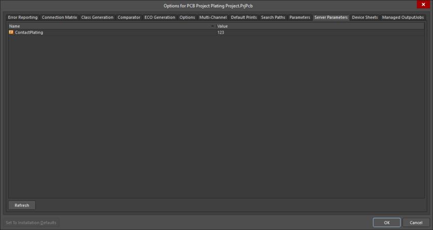 The Server Parameters dialog