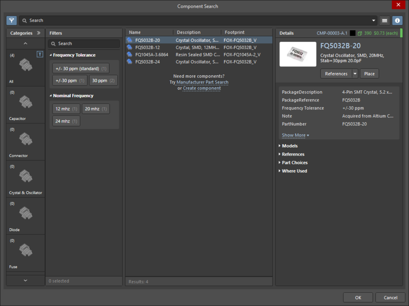 The Component Search dialog