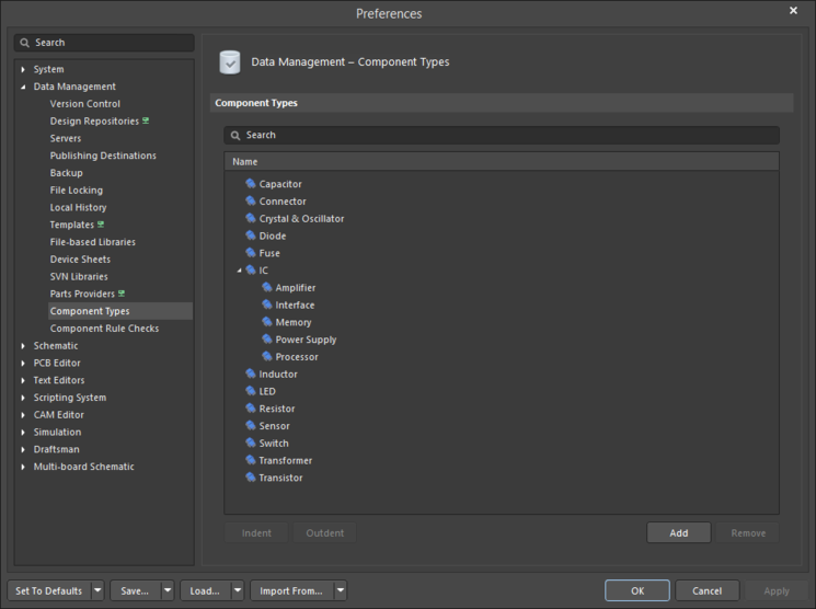 The Data Management - Component Types page of the Preferences dialog