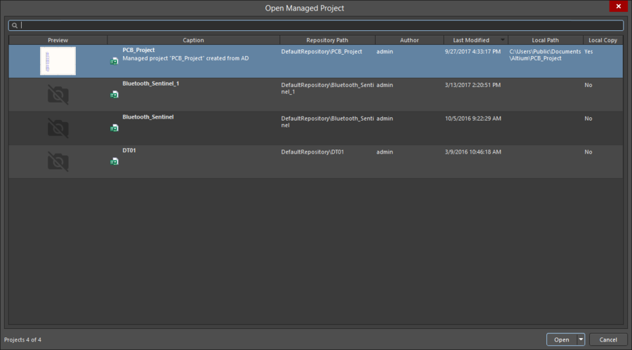 The Open Managed Project dialog