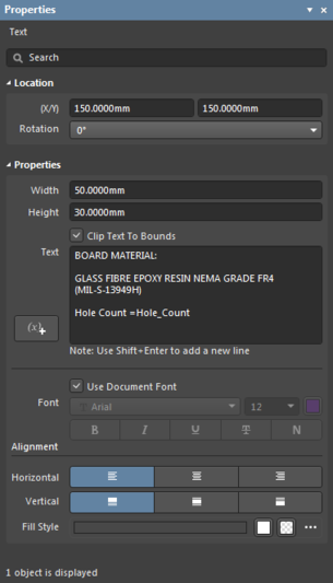The Text object default settings in the Preferences dialogand the Text mode of the Properties panel