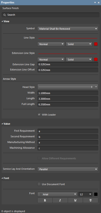 The Surface Finish Sign object default settings in the Preferences dialogand the Surface Finish mode of the Properties panel
