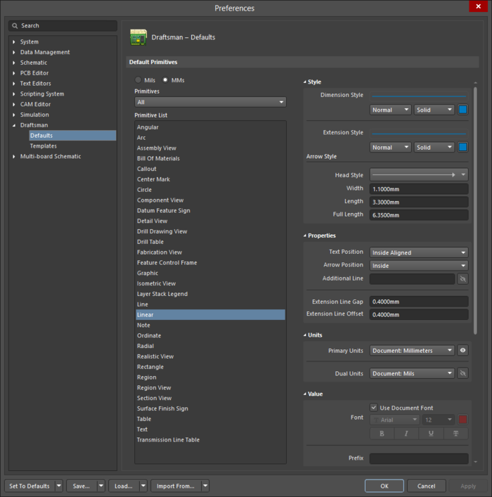 The Linear settings in the Preferences dialog, and the Linear Dimension mode of the Properties panel.