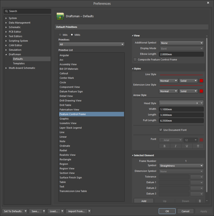 The Feature Control Frame object default settings in the Preferences dialogand the Feature Control Frame mode of the Properties panel
