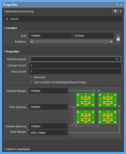 The Embedded Boarddefault settings in thePreferences dialog and the Embedded Board Arraymode of the Properties panel