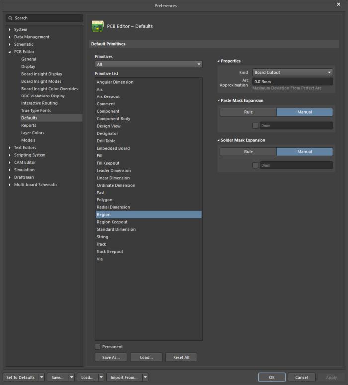The Regiondefault settings in thePreferences dialog and the Regionmode of the Properties panel