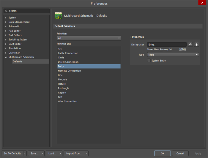 The Entry object default settings in the Preferences dialog, and the Entry mode of the Properties panel.