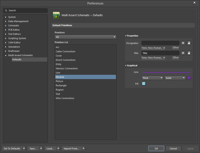 The Module object default settings in the Preferences dialog, and the Module mode of the Properties panel