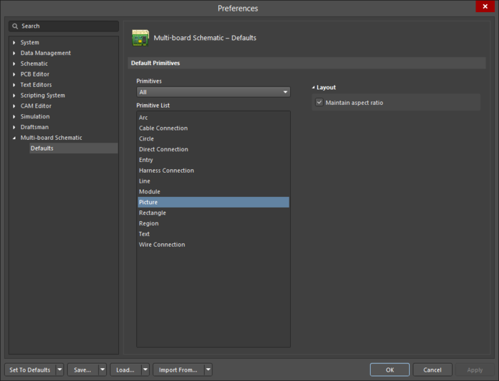 The Picture object default settings in the Preferences dialogand the Picture mode of the Properties panel