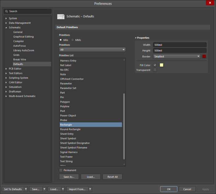The Rectangledefault settings in thePreferences dialog and the Rectanglemode of the Properties panel