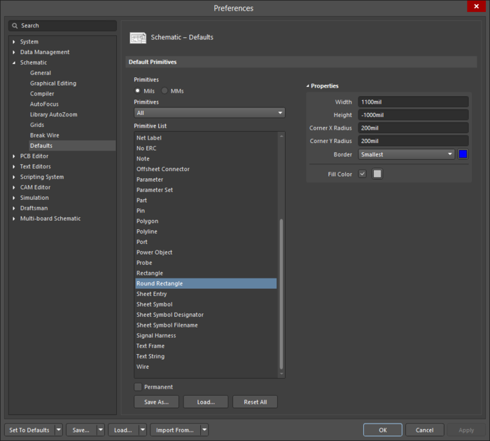 The Round Rectangledefault settings in thePreferences dialog and the Round Rectanglemode of the Properties panel