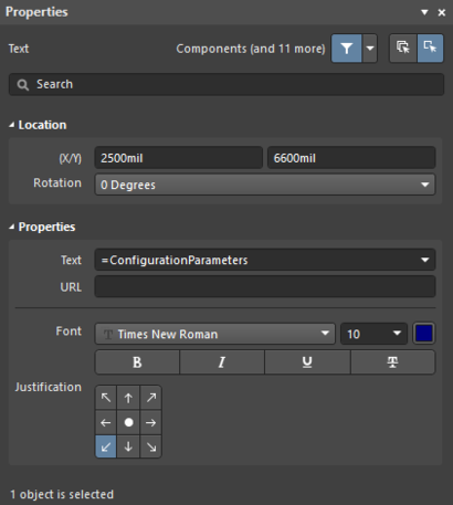 The Text Stringdefault settings in thePreferences dialog and the Text mode of the Properties panel