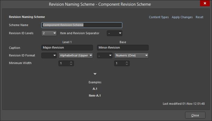 The Revision Naming Scheme dialog