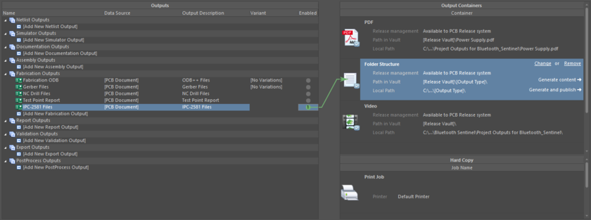Prepping an IPC-2581 output as part of a configured OutJob